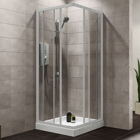 Plumbsure Square Shower Enclosure, Tray & Waste Pack with White Frame & Double Sliding Doors (W)760mm (D)760mm