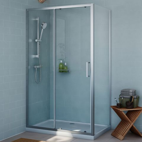 Cooke & Lewis Exuberance Rectangular Shower Enclosure, Tray & Waste Pack with Single Sliding Door (W)1200mm (D)800mm