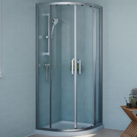 Cooke & Lewis Exuberance Quadrant Shower Enclosure, Tray & Waste Pack with Double Sliding Doors (W)800mm (D)800mm