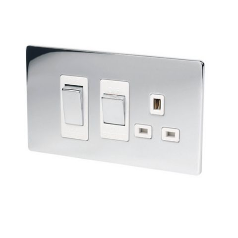 Lap 2-Gang 45A Cooker Switch & Socket