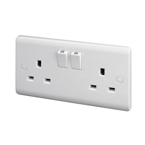 Lap 13A 2-Gang White Switched Socket, Pack of 5
