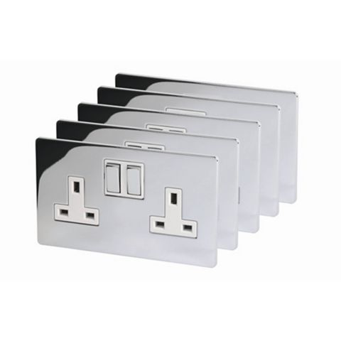 Lap 13A 2-Gang Brushed Chrome Effect Switched Socket, Pack of 5