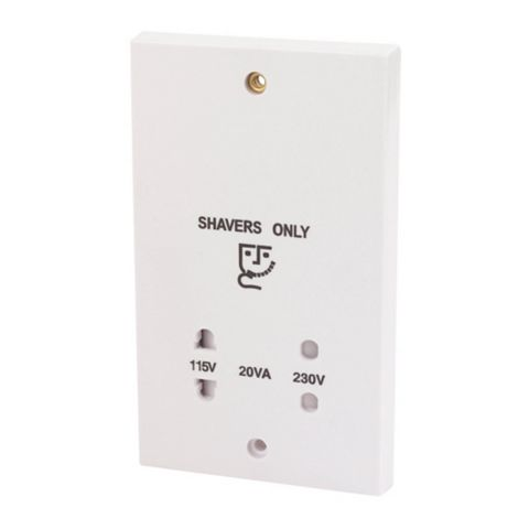 Raised White 110/240V Dual Voltage Shaver Socket