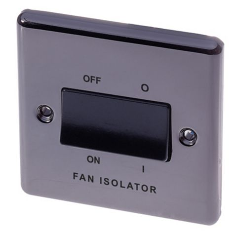 Lap 1-Gang 10AX Black Nickel Effect Fan Isolator Switch