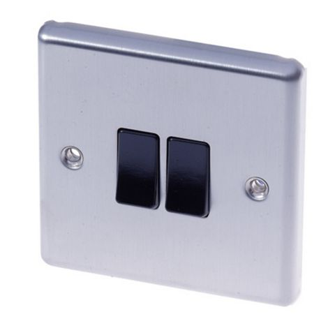 Lap 2-Gang 2-Way 10AX Black Stainless Steel Switch