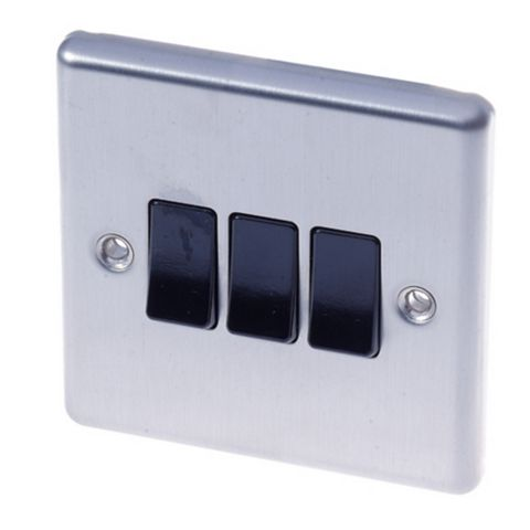 Lap 3-Gang 2-Way 10AX Black Stainless Steel Switch
