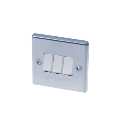 Lap 3-Gang 2-Way 10AX White Stainless Steel Switch