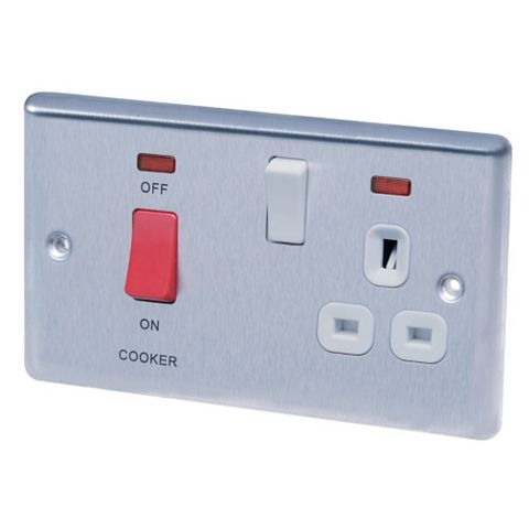 Lap 45A 2-Gang White Cooker Switch