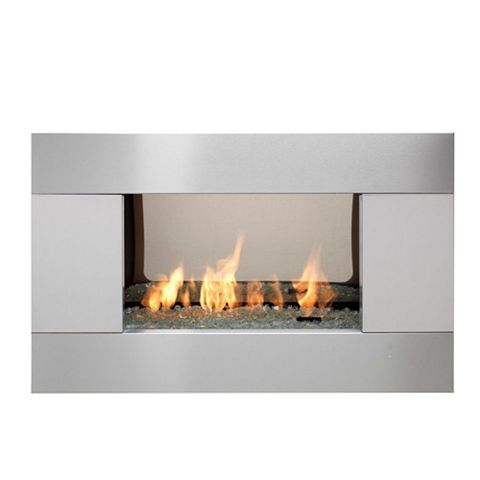 Ignite Pittsburgh Brushed Steel Manual Control Inset Wall Mounted Gas Fire