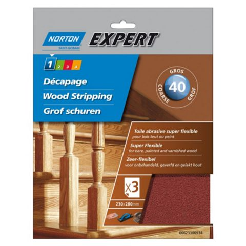 Norton Expert 40 Coarse Sandpaper Sheet, Pack of 3