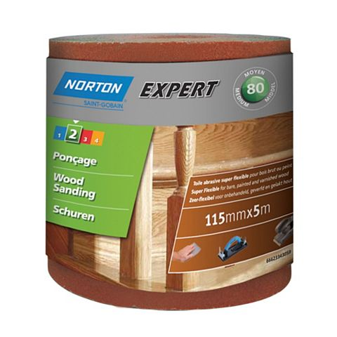 Norton Expert 80 Grit Sandpaper Roll (L)5m (W)115mm
