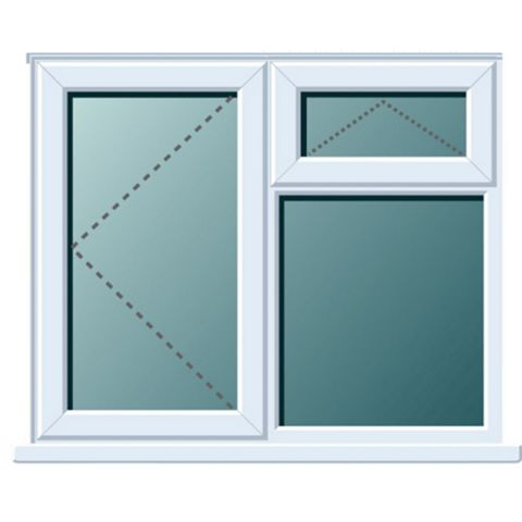 Frame One PVCu LH Side Hung with Top Vent over Fixed Lite Window 970 x 1190 mm