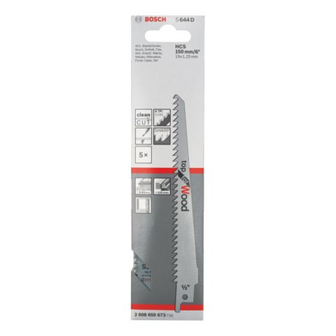 Bosch Sabre Saw Blade (L)150mm, Pack of 5