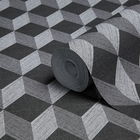 Cubix Black Geometric Wallpaper