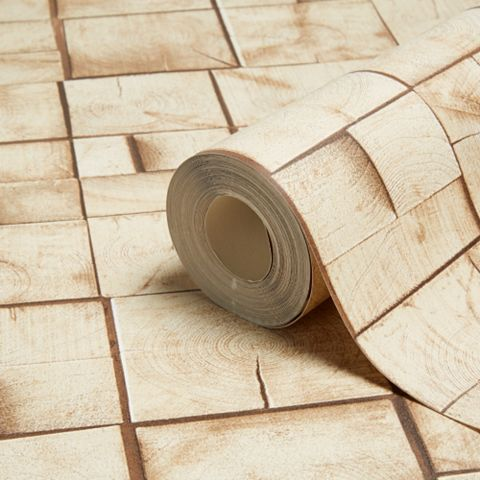 Small Wooden Blocks Brown Wallpaper