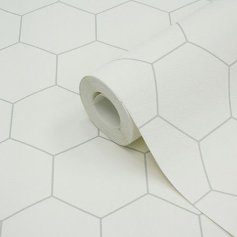 Geometric White & Grey Hexagons Wallpaper