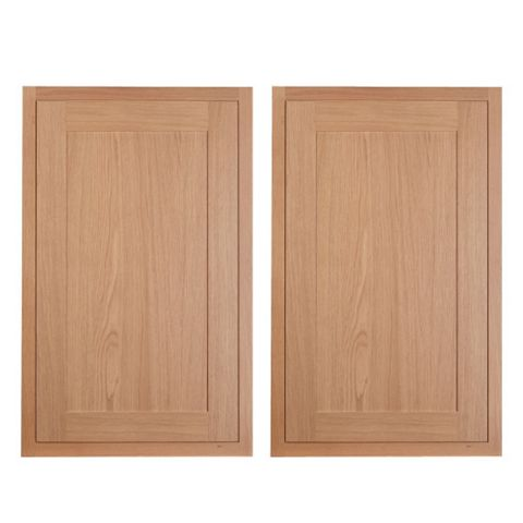 Cooke & Lewis Carisbrooke Oak Framed Larder Door (W)600mm, Set of 2