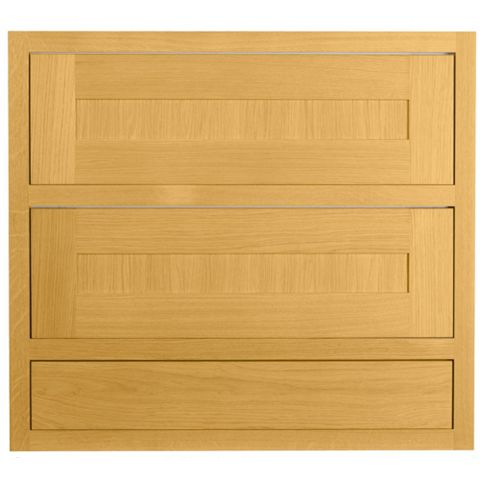 Cooke & Lewis Carisbrooke Oak Framed Pan Drawer Front (W)800mm, Set of 3