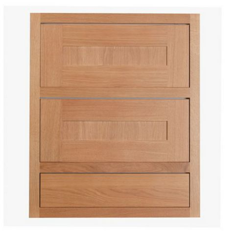 Cooke & Lewis Carisbrooke Oak Framed Drawer Front (W)600mm, Set of 3