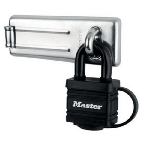 Master Lock Steel Hasp & Lock, 115mm