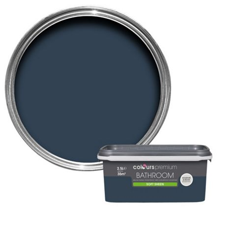 Colours Bathroom Deep Blue Sea Soft Sheen Emulsion Paint 2.5L