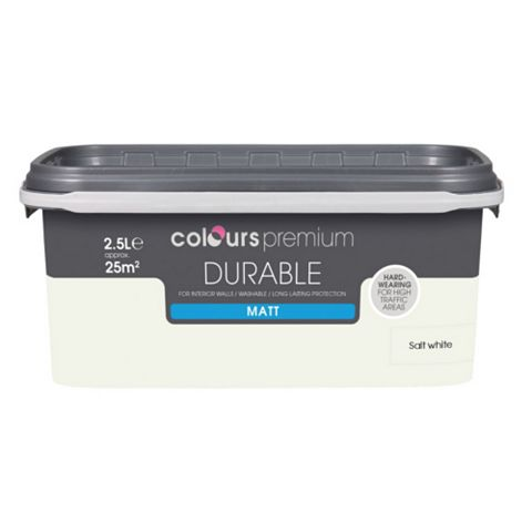 Colours Durable Salt White Matt Emulsion Paint 2.5L