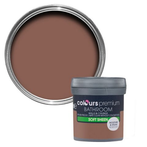 Colours Bathroom Fired Brick Soft Sheen Emulsion Paint 0.05L Tester Pot