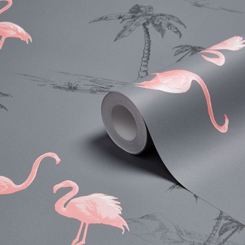 Charcoal & Pink Flamingo Mica Wallpaper