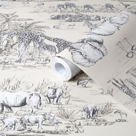 Watering Hole Cream Animal Safari Metallic Wallpaper