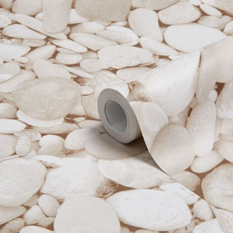 Cream Beach Pebbles Glitter Effect Wallpaper