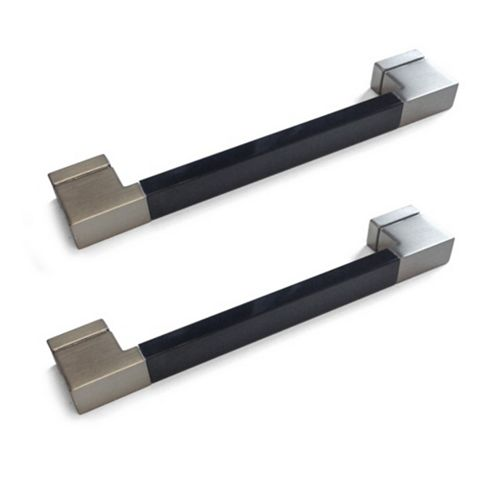 Black Gloss & Brushed Nickel Effect Straight Square Bar Cabinet Handle, Pack of 2