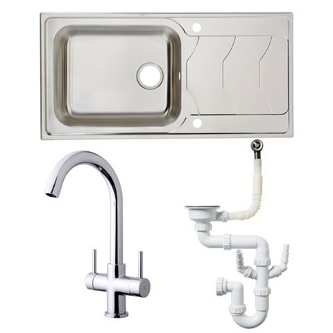 Cooke & Lewis 1 Bowl Stainless Steel Sink, Tap & Waste Kit