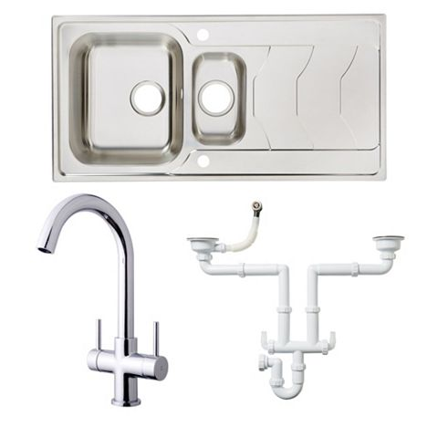 Cooke & Lewis 1.5 Bowl Stainless Steel Sink, Tap & Waste Kit