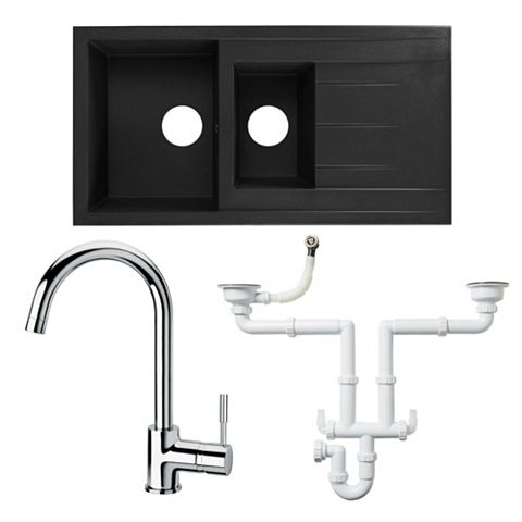 Cooke & Lewis 1.5 Bowl Resin Sink, Lever Tap & Waste Kit