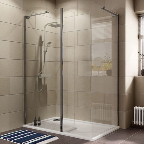 Cooke & Lewis Luxuriant Rectangular Shower Enclosure with Walk-In Entry (W)1400mm (D)880mm