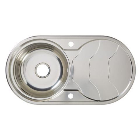 Cooke & Lewis Jemison 1 Bowl Stainless Steel Round Sink & Drainer
