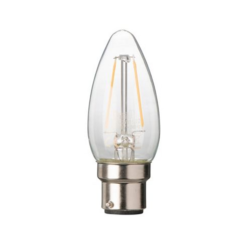 Diall Bayonet Cap (B22) 2W LED Filament Candle Light Bulb