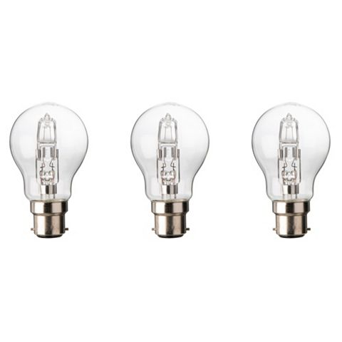 Diall Bayonet Cap (B22) 57W Halogen Classic Light Bulb, Pack of 3
