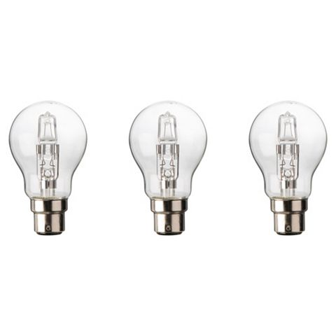 Diall Bayonet Cap (B22) 77W Halogen Classic Light Bulb, Pack of 3