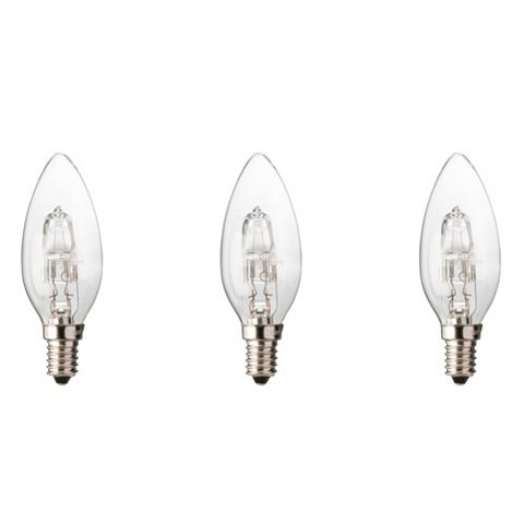 Diall Small Edison Screw Cap (E14) 30W Halogen Candle Light Bulb, Pack of 3