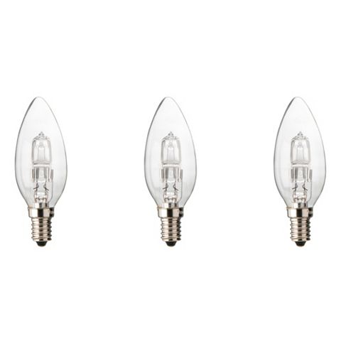 Diall Small Edison Screw Cap (E14) 46W Halogen Candle Light Bulb, Pack of 3