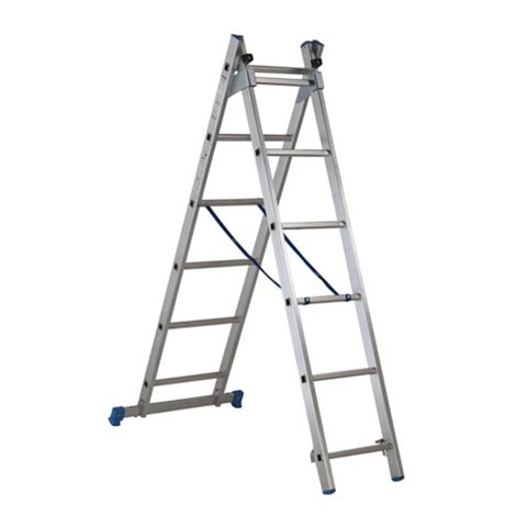 Mac Allister Aluminium-Way Trade Combination Ladder with Stair Function, (H)2.6M