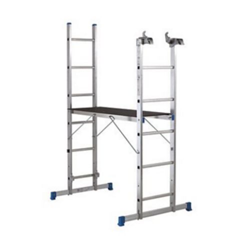 Mac Allister Aluminium-Way Trade 3 In 1 Ladder with Platform Included, (H)2.6M