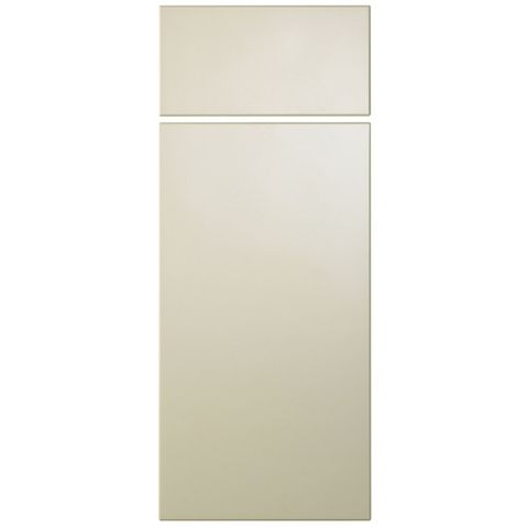 Cooke & Lewis Raffello High Gloss Cream Slab Drawerline Door & Drawer Front (W)300mm, Set of 1 Door & 1 Drawer Pack