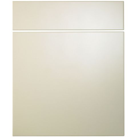 Cooke & Lewis Raffello High Gloss Cream Slab Drawer Line Door & Drawer Front (W)600mm, Set of 1 Door & 1 Drawer Pack