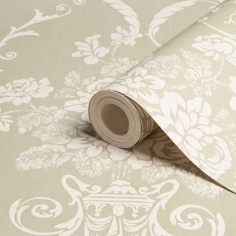 Beatrice Olive & White Damask Wallpaper