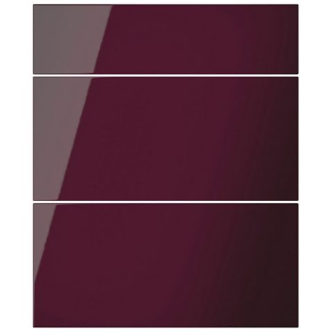 Cooke & Lewis Raffello High Gloss Aubergine Slab Drawer Front (W)600mm, Set of 3