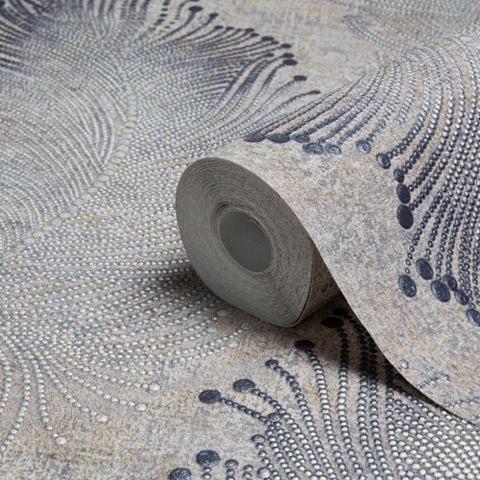 Bohemian Burlesque Beige & Grey Feather Print Metallic Wallpaper