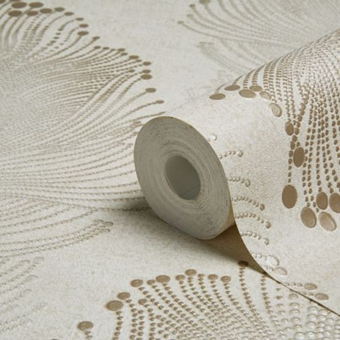 Bohemian Burlesque Gold & Beige Feather Print Metallic Wallpaper