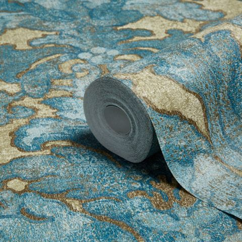 Bohemian Burlesque Petrol Blue, Sage & Brown Large Damask Petrol Blue, Sage & Brown Metallic Wallpaper